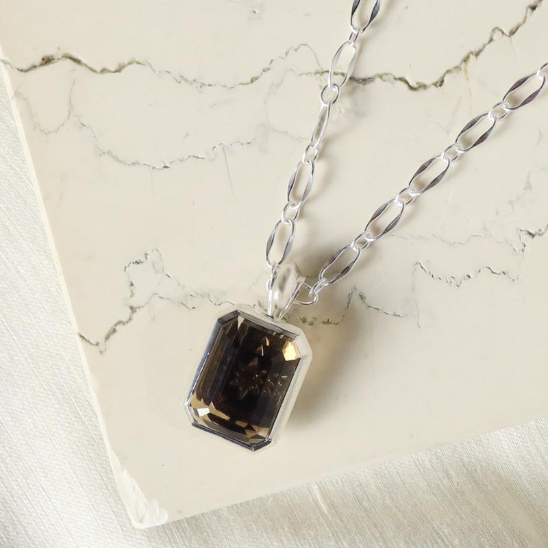 smoky quartz signature pendant