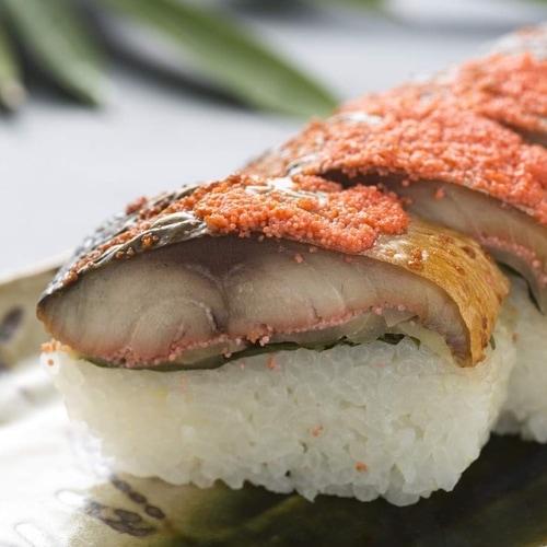 越前三國湊屋の焼き鯖めんたい寿司