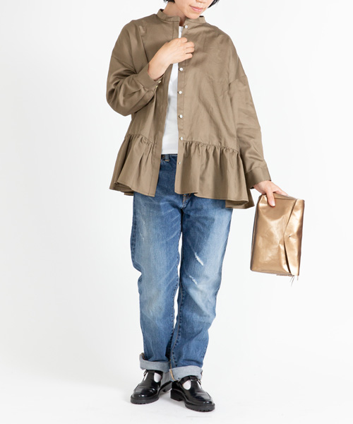 50%OFF  サテン裾切替スタンドシャツ KH(カーキ)