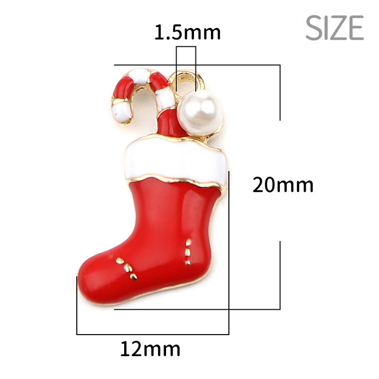 1個入 約20mm×12mm メタルチャーム クリスマスブーツ パール付 ゴールド【ゆうパケット対応】