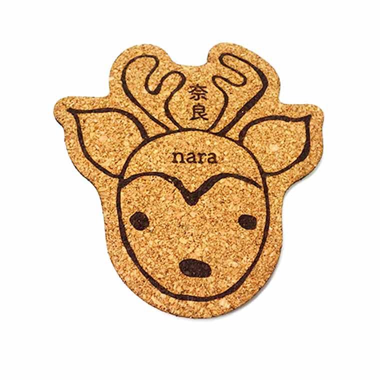 奈良のおみやげ かたどりコルクコースター 鹿正面 約10.5×10.5×0.3cmアンシャンテラボ /奈良県 nara deer 和風 和柄 coaster お土産 おみやげ OMIYAGE【ゆうパケット対応】