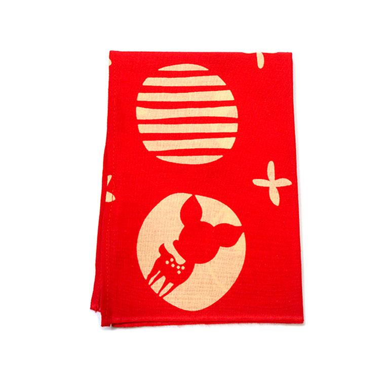 奈良のおみやげ ならむすび手ぬぐいハンカチ 赤 約45×33cmアンシャンテラボ /奈良 nara deer お土産 おみやげ OMIYAGE はんかち デザイン【ゆうパケット対応】
