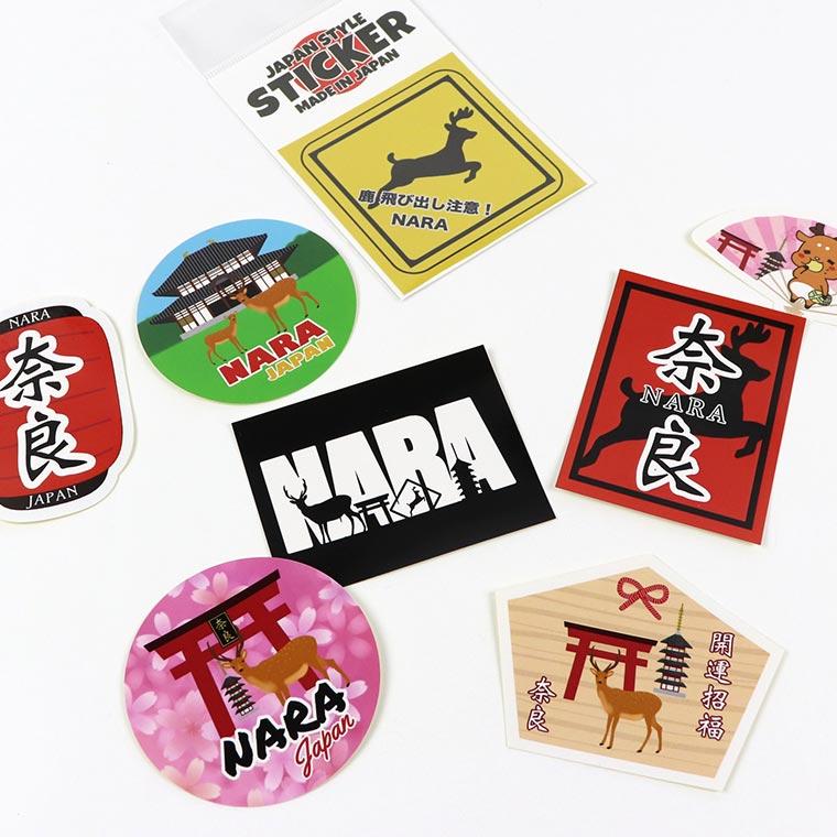 奈良のおみやげ ジャパンスタイルステッカー 長方形 奈良と鹿 漢字  80mm×60mm (1個入)/ シール なら 奈良 NARA 目立つ カッコいい かっこいい ご当地 しか シカ japan【ゆうパケット対応】