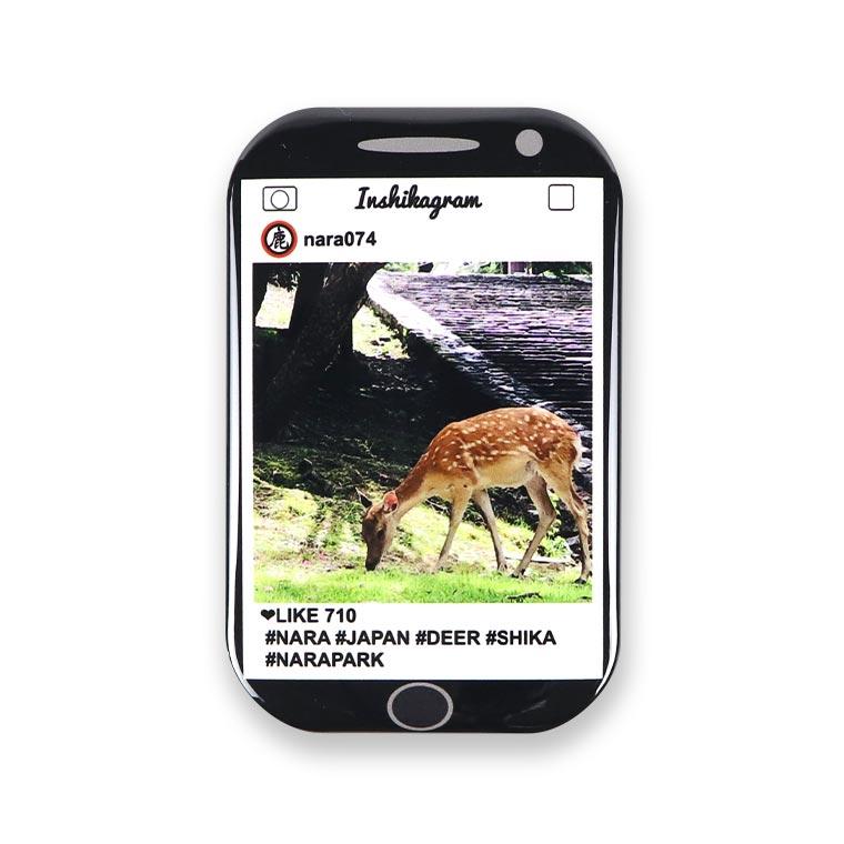 奈良のおみやげ スーベニアマグネット長方形 SNS風 鹿と公園 70mm×44mm 厚み4mm (1個入)/ NARA なら 奈良 目立つ ユーモア 面白い オシャレ ご当地 しか 鹿 シカ japan【ゆうパケット対応】