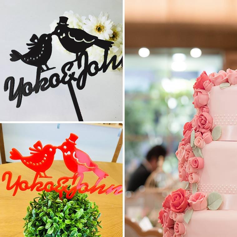 アクリル製 名入れ ウェディングバード フラワーピック アンシャンテラボ / wedding 結婚式 お祝い ケーキトッパー風 オリジナルウェディンググッズ