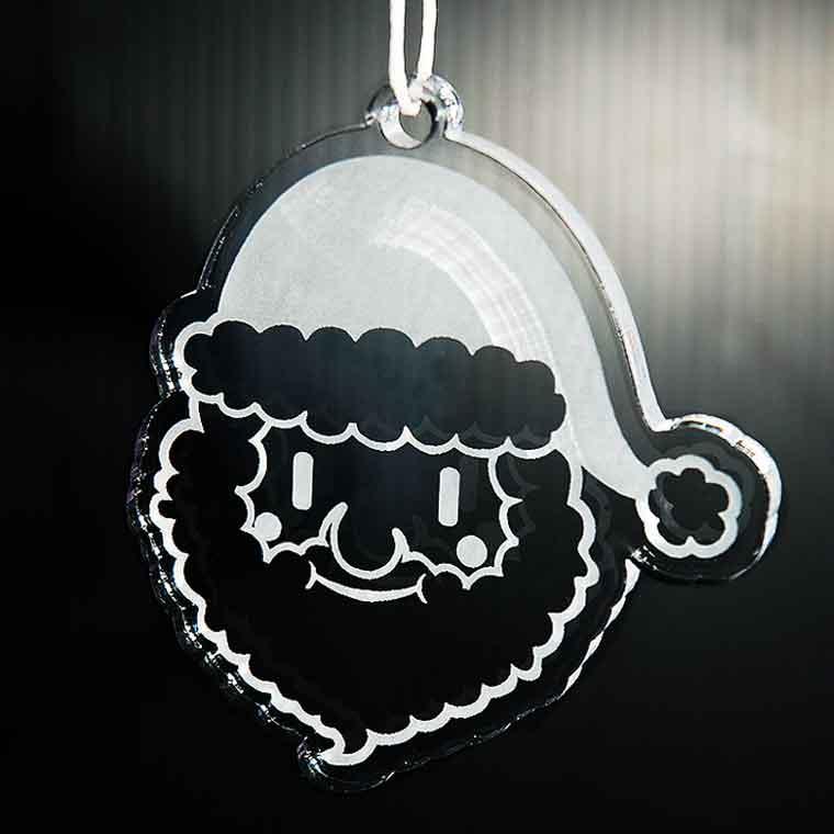 アクリル製クリスマスオーナメント 3mm サンタクロース (ギフトボックス、牛革ひも30cm付き)アンシャンテラボ 【ゆうパケット対応】