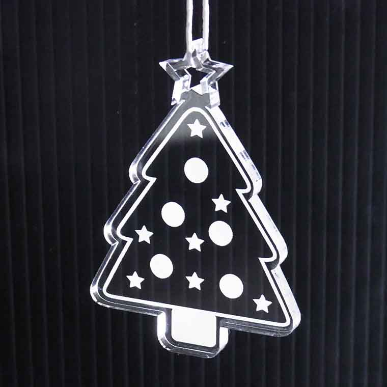 アクリル製クリスマスオーナメント 3mm ツリー (ギフトボックス、牛革ひも30cm付き)アンシャンテラボ 【ゆうパケット対応】