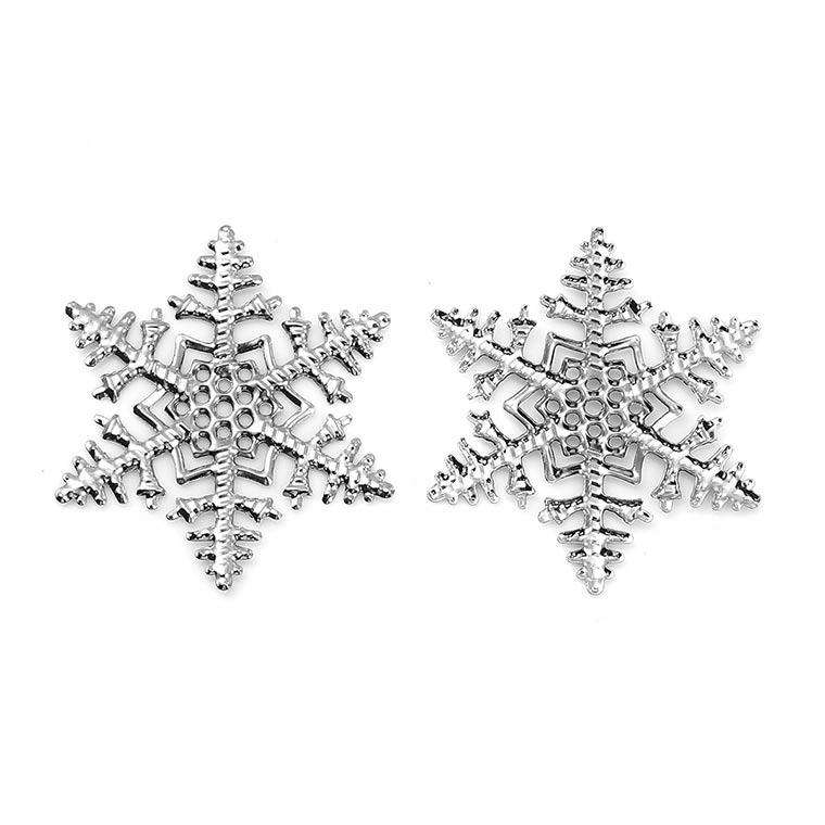 5個入 約45×45×0.3mm 透かしパーツ スノーフレーク シルバートーン / 雪の結晶 レース風 フィリグリー snow 飾りつけ カルトナージュ 貼り付けパーツ 装飾パーツ【ゆうパケット対応】