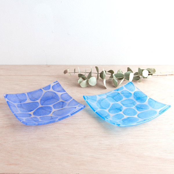琉球グラス グラスアート藍 Minasoko プレート14.5cm(スカイ)