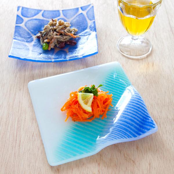 琉球グラス グラスアート藍 Minasoko プレート14.5cm(ブルー)