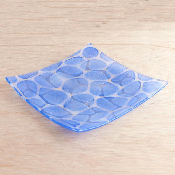 琉球グラス グラスアート藍 Minasoko プレート19.5cm(ブルー)