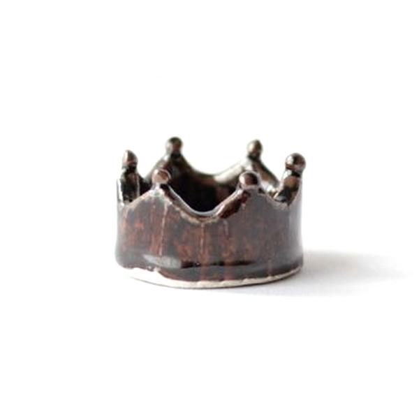 小石原焼 圭秀窯 王冠箸置き(飴釉)