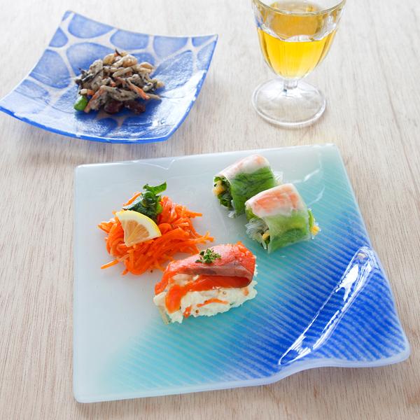 琉球ガラス グラスアート藍 LAGOON プレート20cm