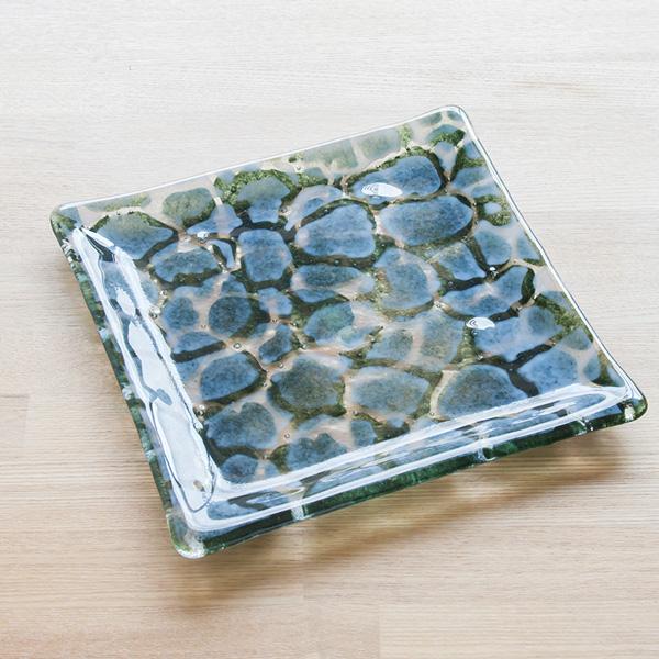 琉球ガラス グラスアート藍 GUSUKU プレート20cm(知念城 Chinen Gusuku)
