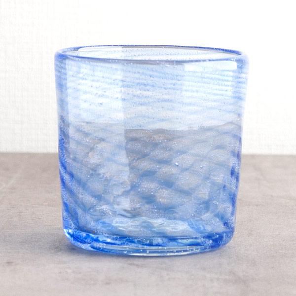 琉球ガラス グラスアート藍 Shima ロックグラス(青)