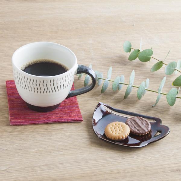 小石原焼 圭秀窯 マグカップ豆皿(飴釉)
