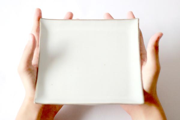 小石原焼 圭秀窯 ましかく皿(白釉)