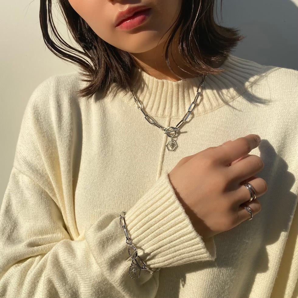 シャイニーボールドチェーンネックレス【ニッケルフリー】(Silver)