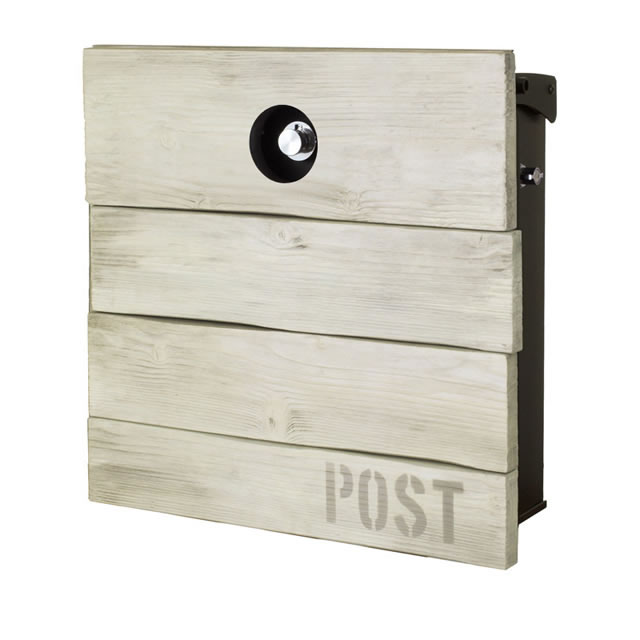 オンリーワン 郵便ポスト オールドタイムズ ハット NA1-OAH11AT エイジングホワイトウッド色 ダイヤル錠付き