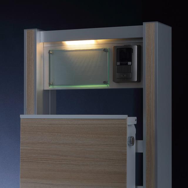 【表札灯付】 【宅配ボックス用化粧パネル付】 宅配ボックス搭載門柱 ストレーゼワイド ハーフ ETBPW-L-H-OP ※インターホンは付属していません