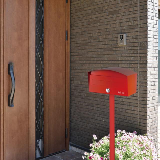 オンリーワン 郵便ポスト Macron マカロン GM1-E40-102 レッド色 ダイヤル錠付き