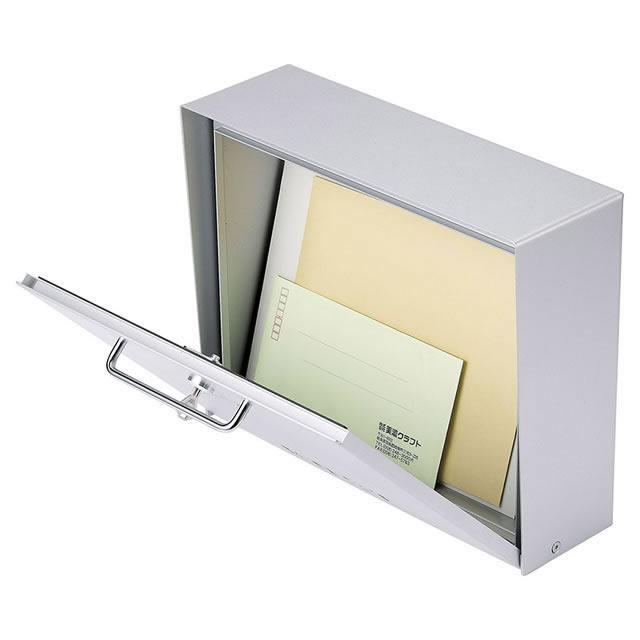 美濃クラフト 郵便ポスト Deturn デターン DETURN-MS メタリックシルバー色 鍵付き