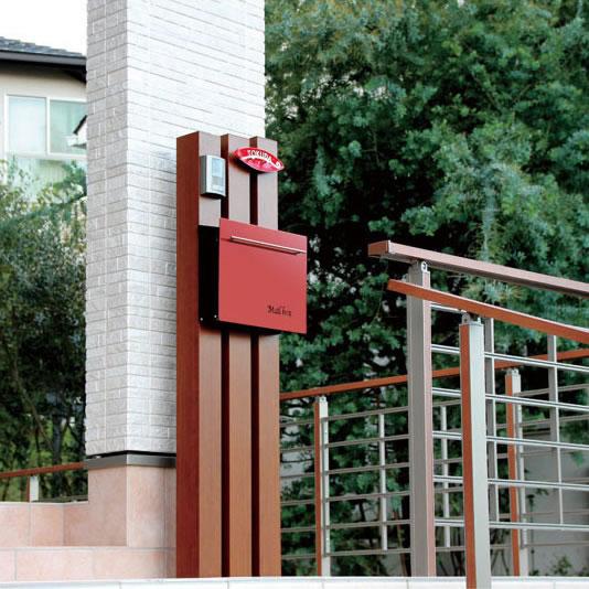 オンリーワン 郵便ポスト ノイエキューブ ワインレッド GM1-EZ102 壁掛け仕様 鍵付き