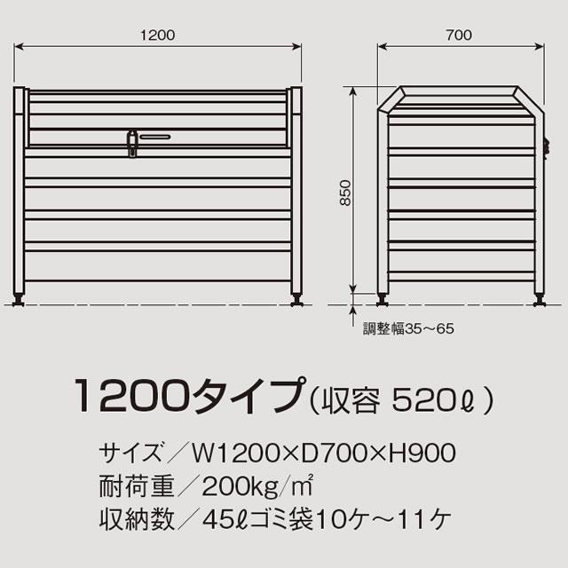 アルミック ゴミ収集庫 ミックストッカー パンチング 1200タイプ E85-70H パープル 幅1,200mm×奥行き700mm×高さ900mm