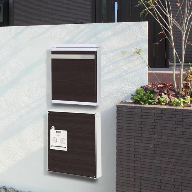 モダンなテイストのウッドブラック デザインパネル仕様 戸建住宅用宅配ボックス パナソニック コンボ COM-1-1-L 左開きタイプ