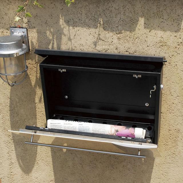 オンリーワン 郵便ポスト ノイエキューブ ブラウン GM1-EZ113 壁掛け仕様 鍵付き
