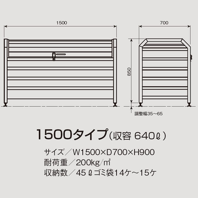 アルミック ゴミ収集庫 ミックストッカー パンチング 1500タイプ E69-60L ブルー 幅1,500mm×奥行き700mm×高さ900mm