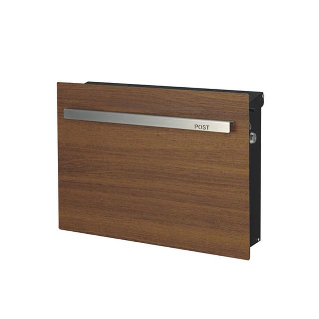 オンリーワン 郵便ポスト ノイエキューブ ウッド チーク GM1-EZ502 壁掛け仕様 鍵付き
