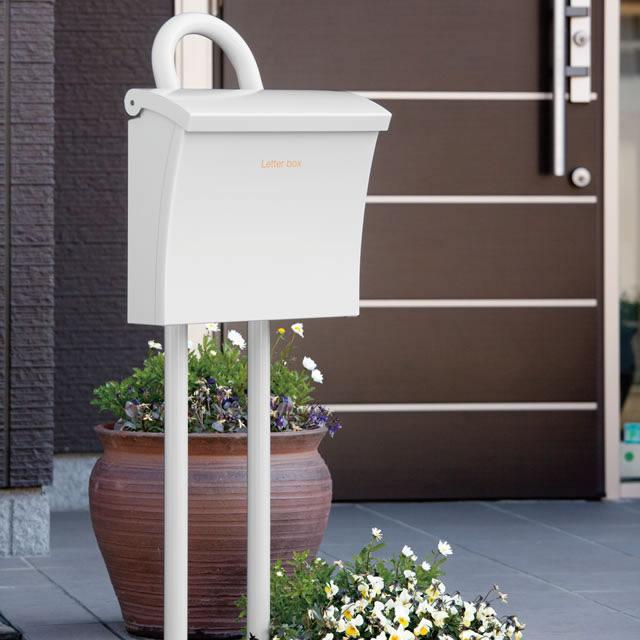 コーワソニア 郵便ポスト Luce ルーチェ ホワイト色 上入れ上出し 可変式ロック付き