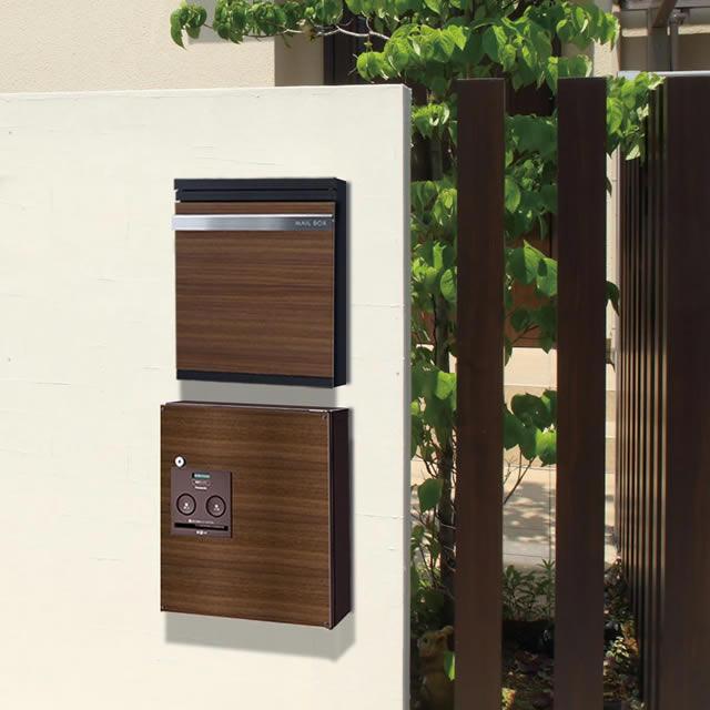 一番人気のウッドブラウン デザインパネル仕様 戸建住宅用宅配ボックス パナソニック コンボ COM-4-2-R 右開きタイプ