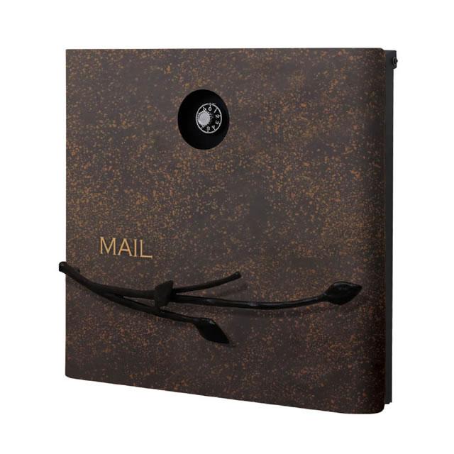 オンリーワン 郵便ポスト イル ヴァリオ Branch ブランチ NA1-IV08RB 壁掛タイプ ルストブラウン色 ダイヤル錠付き
