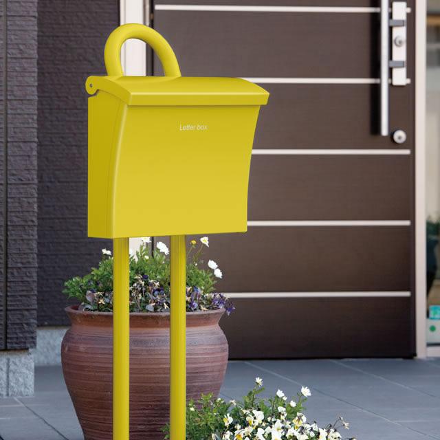 コーワソニア 郵便ポスト Luce ルーチェ イエロー色 上入れ上出し 可変式ロック付き