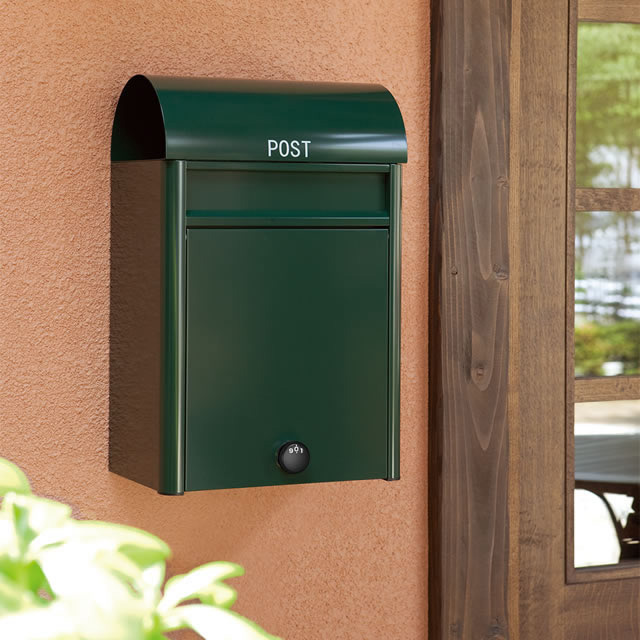 コーワソニア 郵便ポスト duomo ドゥオモ グリーン色 前入れ前出し 静音ダイヤル錠付き