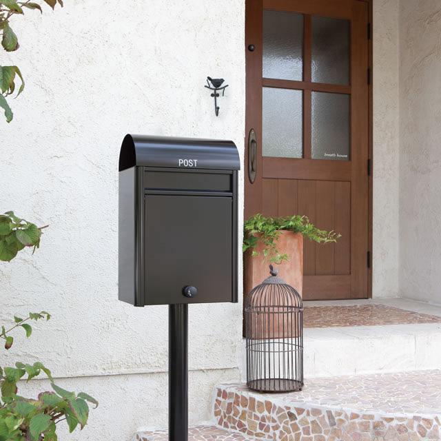 コーワソニア 郵便ポスト duomo ドゥオモ ブラック色 前入れ前出し 静音ダイヤル錠付き