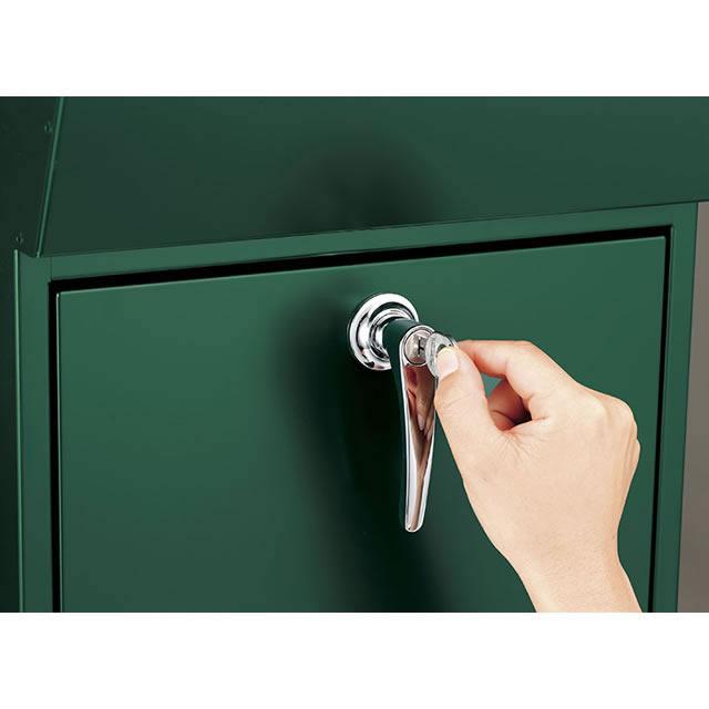 美濃クラフト 郵便ポスト DETAIL デテール EMK-DETAIL-MS メタリックシルバー色 鍵付き