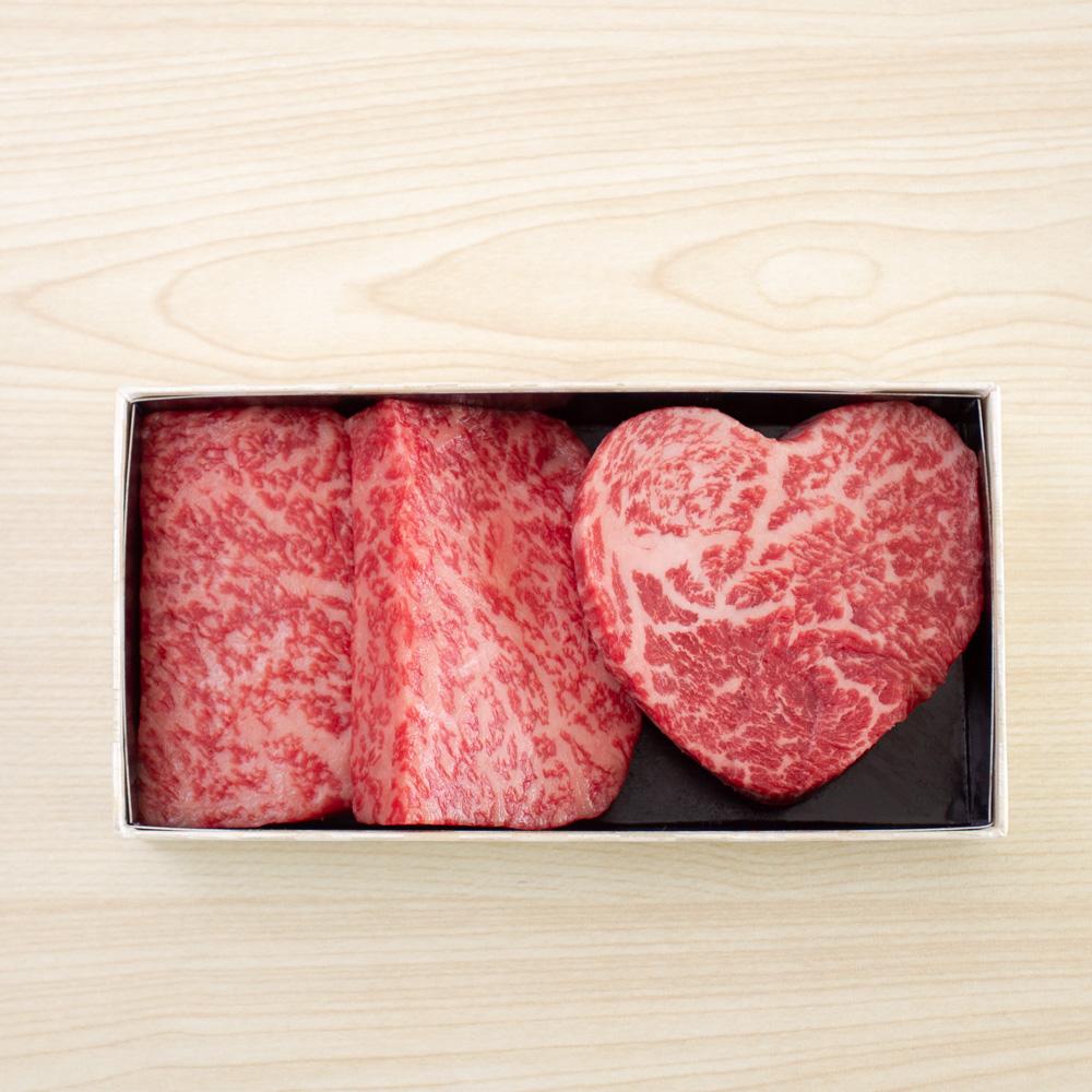 【冷蔵配送】【父の日ギフト限定】黒毛和牛モモステーキセット( (ハートステーキ1枚、モモステーキ 2枚))父の日専用包装紙・造花付き