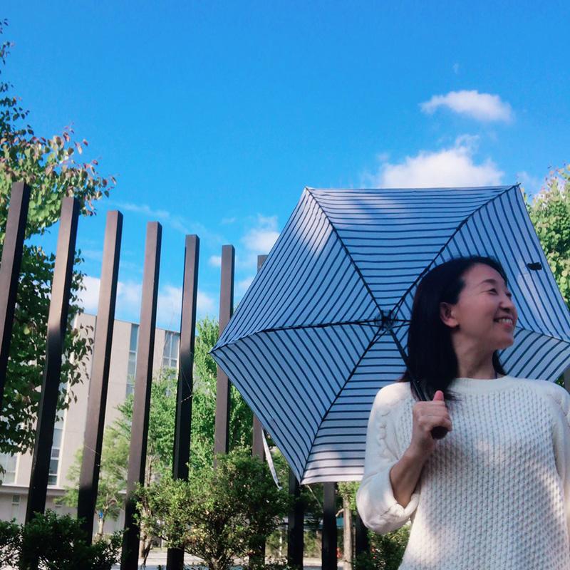 晴雨兼用折りたたみ日傘 ミニオン/ボーダー(ワンポイント刺繍)