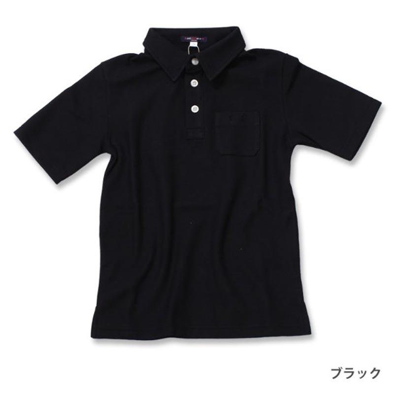 スクールポロシャツ5分袖 ブラック 子ども用