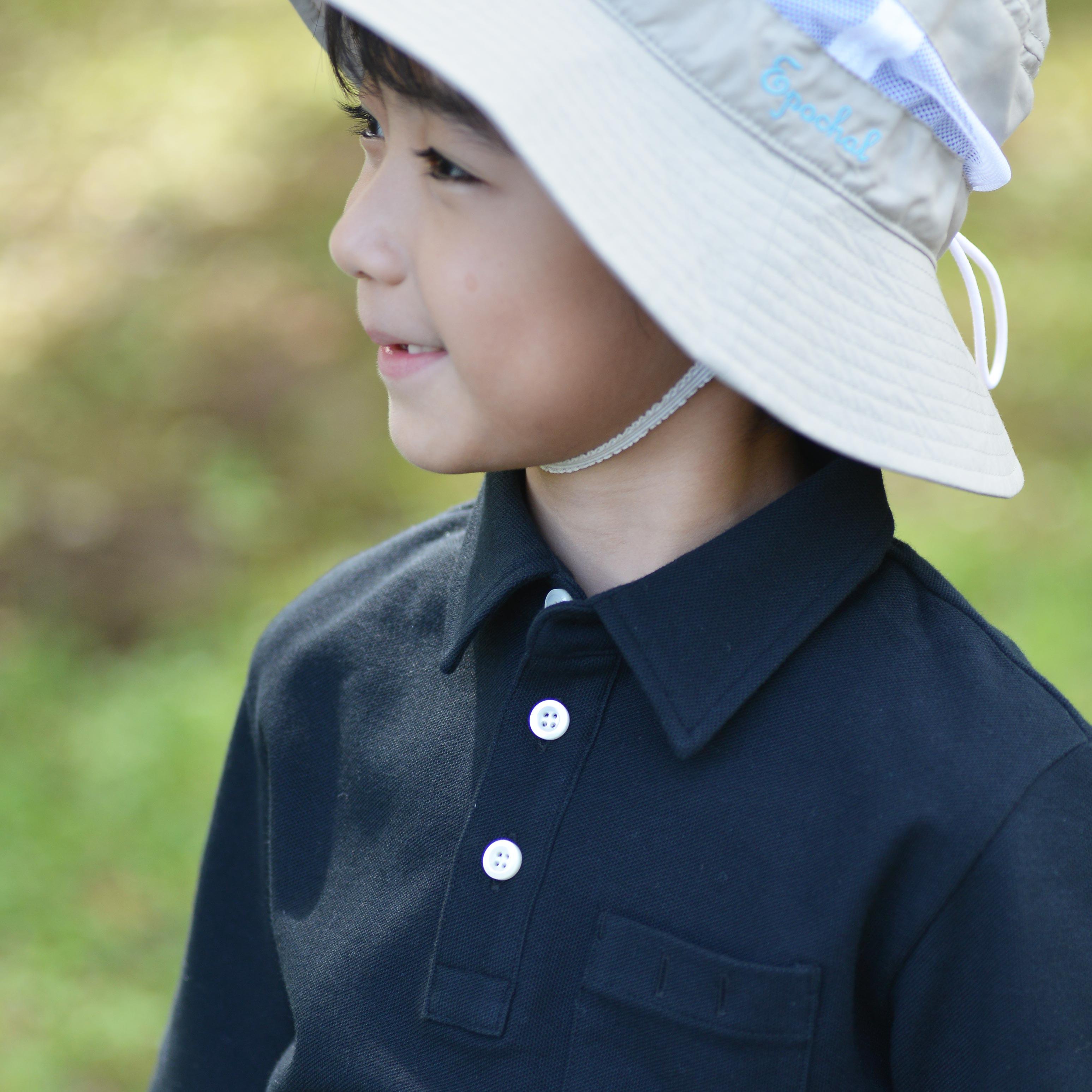 スクールポロシャツ5分袖 ブラック 子ども用 紫外線対策