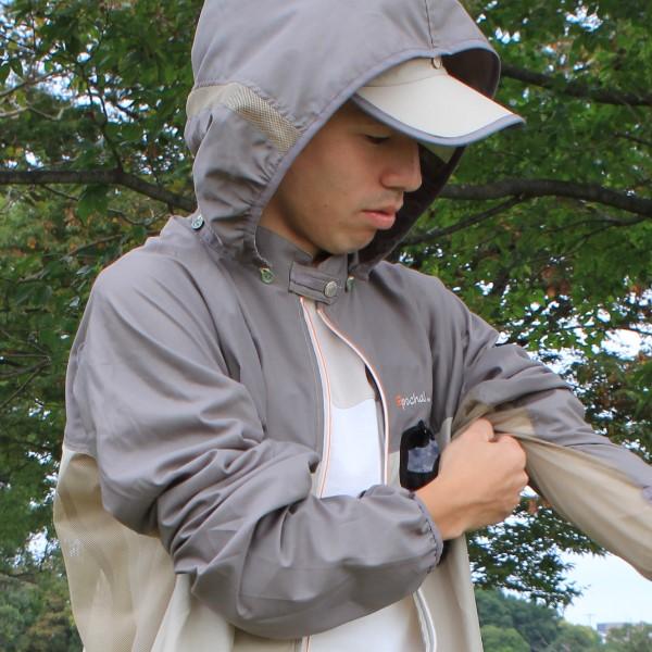 サンブロックUVメッシュパーカー カーキ×ベージュ 大人男女兼用サイズ 紫外線対策