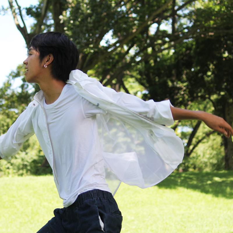 紫外線対策 ブレッサブルUVパーカー ホワイト 男女兼用 (日本学校保健会推薦製品)