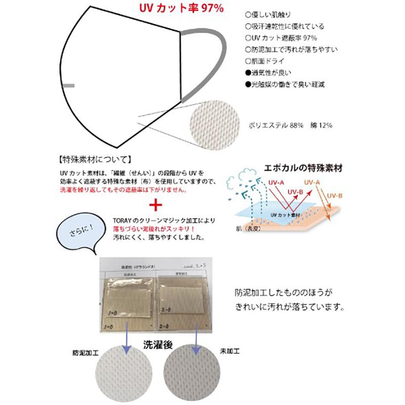 防泥&通気性UPした立体UVカットマスク(耳サイズ調整付き)