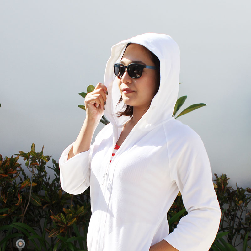 紫外線対策 UVカットパーフェクトパーカー レディース ホワイト UV遮蔽率99%以上 世界最高水準!