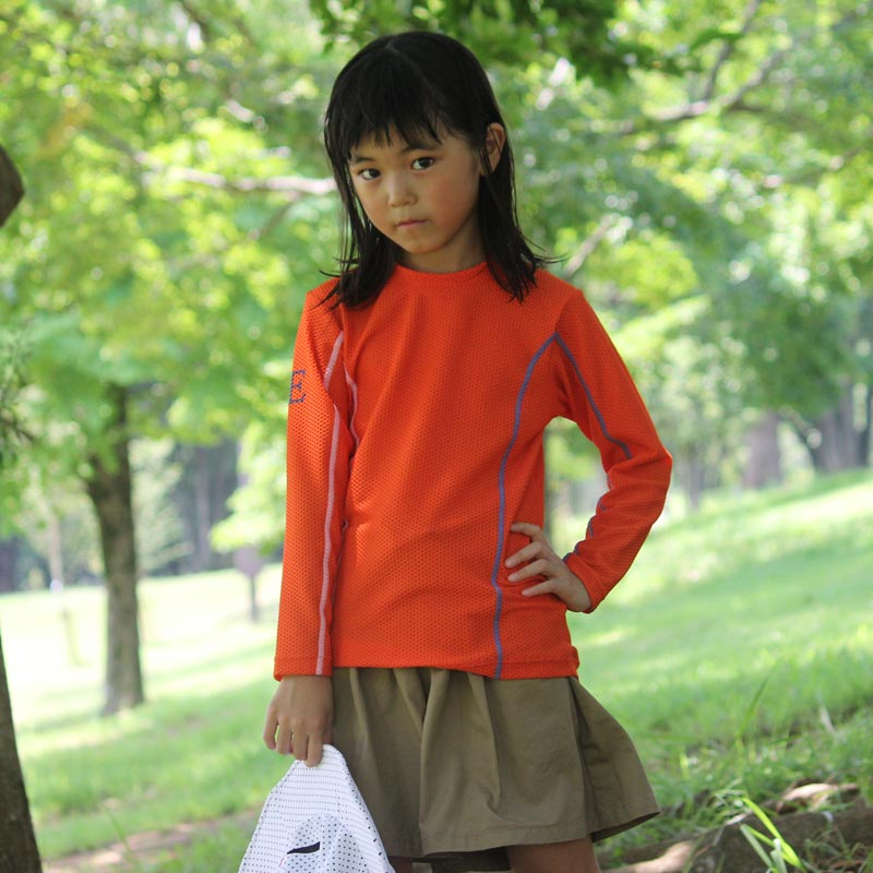 水陸両用ストレッチTシャツ 子供用 オレンジ/グレー 紫外線対策