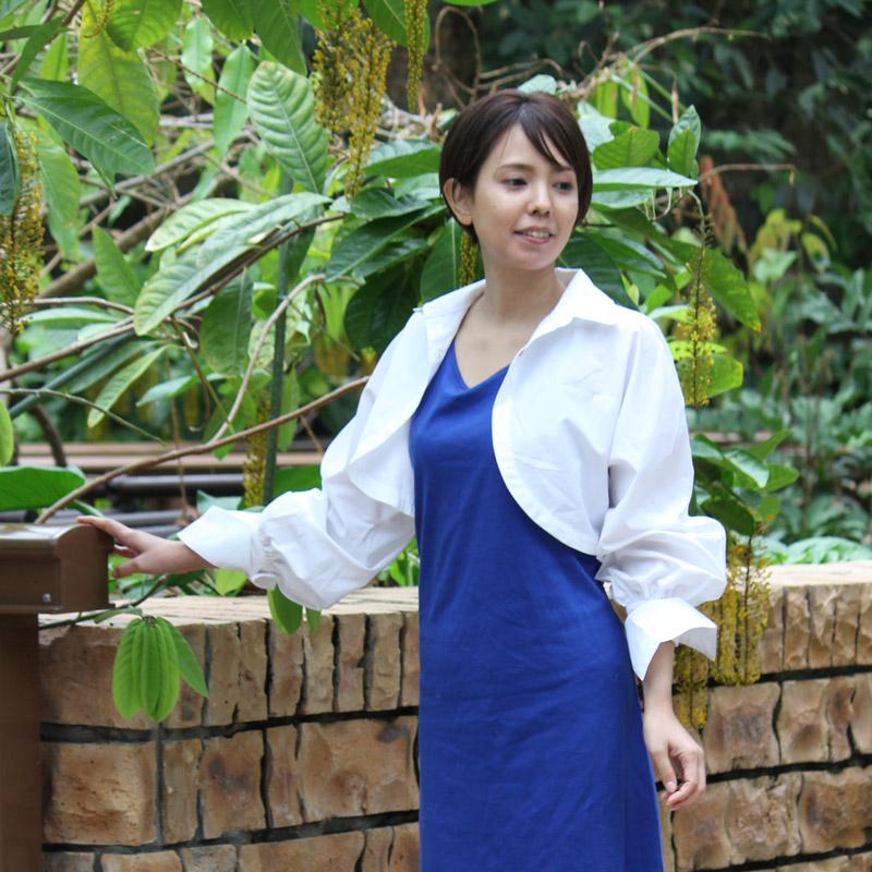 紫外線対策 UVカットパフスリーブボレロシャツ