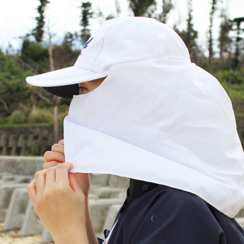 顔を覆えるフラップ付き UVカットフラップ収納キャップ 男女兼用